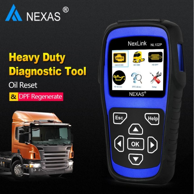 NEXAS Heavy Duty + Truck OBD2 Diagnostic Scan Tool + DPF + Oil Reset + OBD2  Cars [NL102 Plus] No 6/9 cables